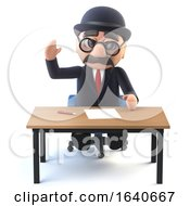 3d Bowler Hatted British Businessman At His Desk