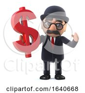 3d Bowler Hatted British Businessman Has US Dollars