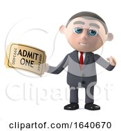 3d Businessman Has A Ticket To The Show