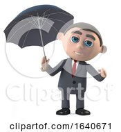 3d Businessman Under An Umbrella