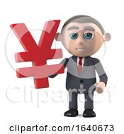 3d Businessman Holding A Yen Currency Symbol