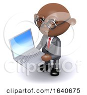 3d African American Businessman With A Laptop