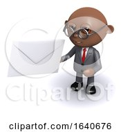 Funny Cartoon 3d African American Businessman Holding A Letter