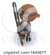 3d African American Businessman Writes With A Pen