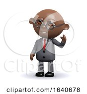 3d African American Businessman Waves Hello