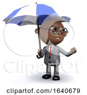 3d African American Businessman Under An Umbrella