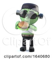 3d Child Frankenstein Monster Eating A Beef Burger