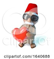Poster, Art Print Of 3d Moroccan Holding A Red Heart