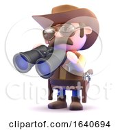 3d Cowboy Looks Through Binoculars by Steve Young