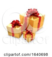 Poster, Art Print Of 3d Gold And Red Gift Boxes