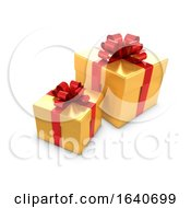 Poster, Art Print Of 3d Two Gold And Red Gift Boxes