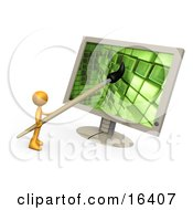 Orange Person A Cartoonist Or Web Designer Using A Paintbrush On A Flat Screen Computer Monitor To Create An Image Or To Design A Website Clipart Illustration Graphic