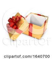 Poster, Art Print Of 3d Open Gold And Red Gift Box