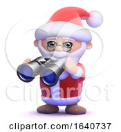 3d Santa Watches Through Binoculars by Steve Young
