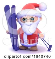 3d Santa Has His Skis Ready by Steve Young