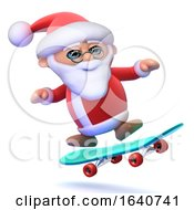 3d Santa On A Skateboard by Steve Young