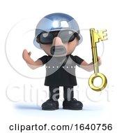 3d Biker Holding A Gold Key