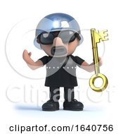3d Biker Holding A Gold Key by Steve Young