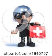 3d Biker Holding A First Aid Kit