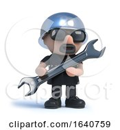 3d Biker Does Some Repairs With A Spanner