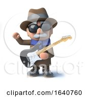 3d Cartoon Blind Man Character Playing An Electric Guitar