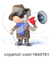 3d Blind Man Using A Megaphone