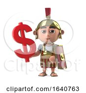 3d Roman Soldier Has A US Dollar Currency Symbol