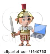 3d Roman Centurion Soldier Has A Laptop Pc Device