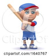 3d Baseball Kid Stands Ready With The Bat