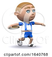Funny Cartoon 3d Sportsman Throwing A Discus