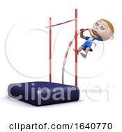 Funny Cartoon 3d Athlete Doing The Pole Vault