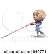 Funny Cartoon 3d Pole Vaulter Prepares To Jump