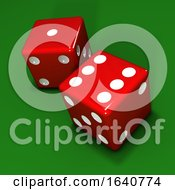 3d Two Red Dice On Green Background