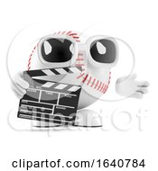 3d Baseball Character With A Clapperboard