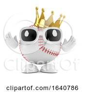 3d Baseball Character Wears The Champions Gold Crown