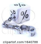 3d White Percent Dice With Leg Iron