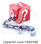 3d Shackled Question Mark Red Dice