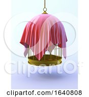 3d Gold Birdcage Draped In A Red Cloth