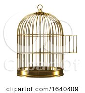 3d Gold Birdcage With Door Open by Steve Young