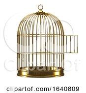 3d Gold Birdcage With Door Open