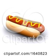 3d Hot Dog In A Bun With Mustard