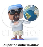 3d Sailor Dude Holds A Globe Of The Earth