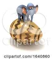 Poster, Art Print Of Funny Cartoon 3d Elephant Balanced On An Easter Egg