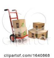 3d Handcart Loaded With Cardboard Boxes