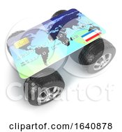 3d Credit Card Vehicle On White Background