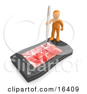 Orange Person Holding A Pen And Scheduling An Appointment On His Black Palm Pilot While Standing On It Clipart Illustration Graphic by 3poD