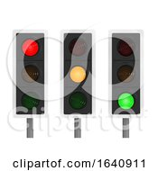 3d Set Of Traffic Lights