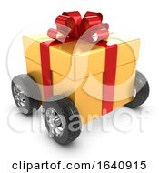 3d Gold Gift On Wheels