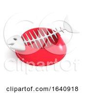 3d Cat Bowl With Fish Bones