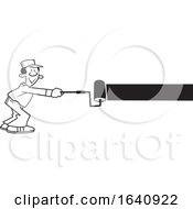 Poster, Art Print Of Cartoon Black And White Male Painter Using A Roller Brush